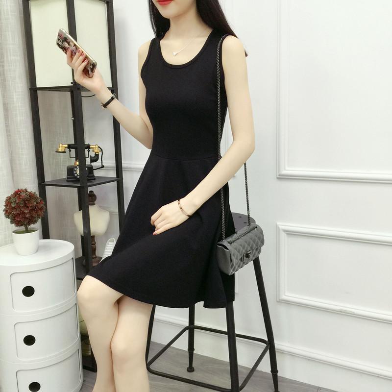 夏装新款韩版中长款纯色背心裙显瘦高腰拼接无袖连衣裙大摆裙子潮