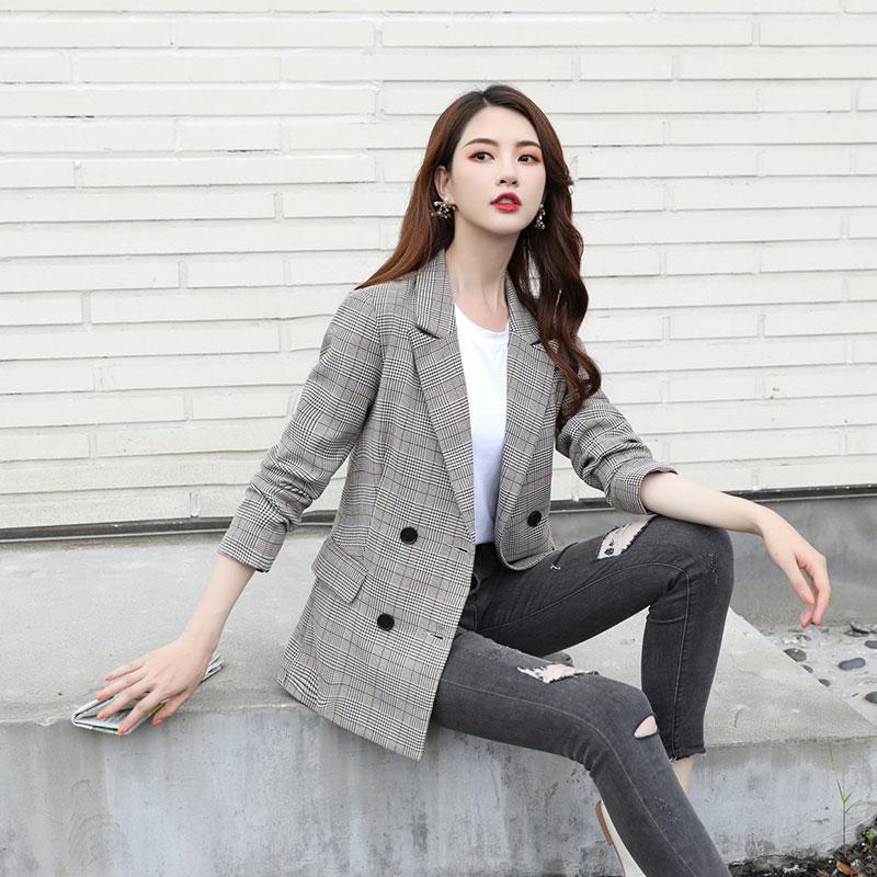 格子小西装外套女复古春秋新款休闲韩版时尚款网红西服女上衣英伦