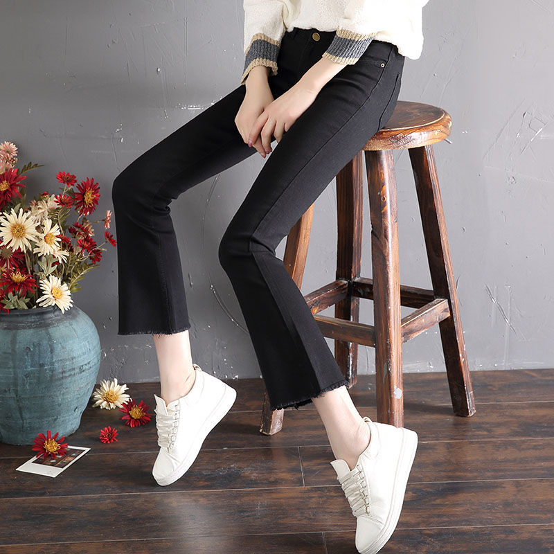 CEC pants womens straight tube and all kinds of strange taste all kinds of straight tube and high waist students Korean micro speaker wide leg jeans women