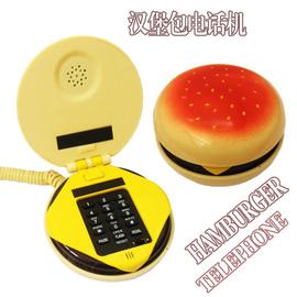 韩版创意卡通汉堡包电话机迷你仿古电话机办公室座机有绳话机包邮图片