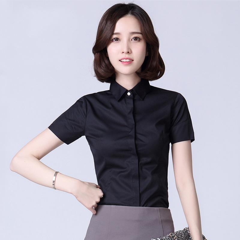 夏季薄款女士短袖衬衫商务休闲职业工装暗门襟黑色半袖衬衣防走光