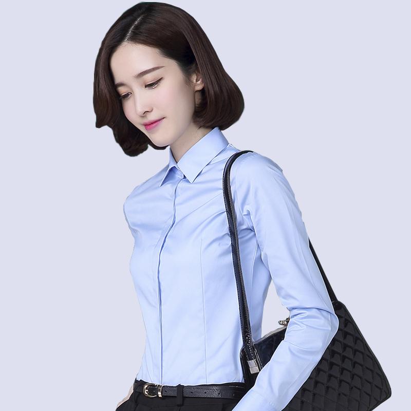 春季暗门襟长袖衬衫女商务休闲职业工装浅蓝色西装打底衫防走光ol