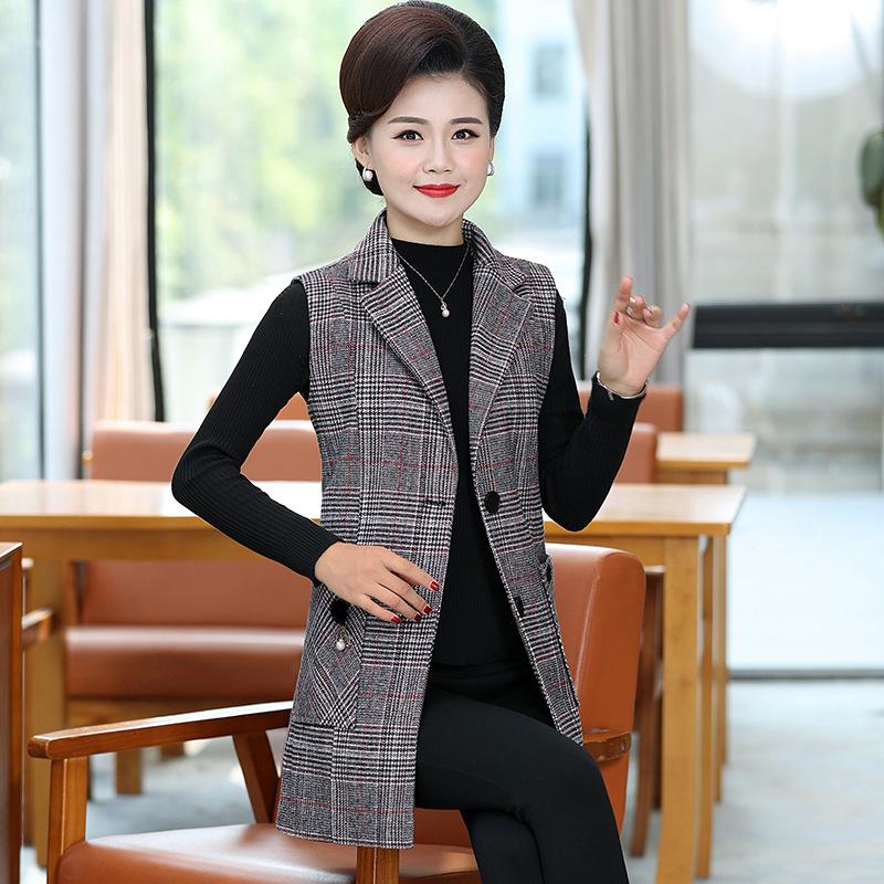 格子毛呢马甲女韩版修身中长款时尚新款无袖西装马夹外套上衣秋装