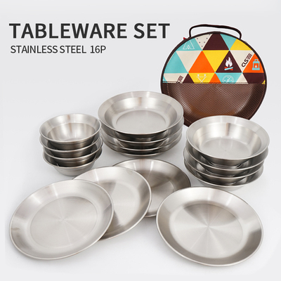 Outdoor stainless steel dinner plate set camping portable camping self-driving tour barbecue plate household 16-piece soup bowl dishes
