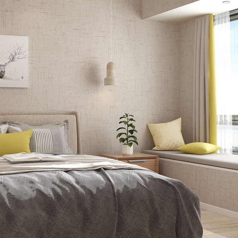 无缝墙布简约现代高档亚麻防水壁布全屋 素色纯色卧室客厅背景墙