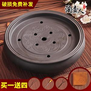 特价圆形紫砂功夫茶盘茶海茶台大茶盘陶瓷茶具简约储水茶托盘小号