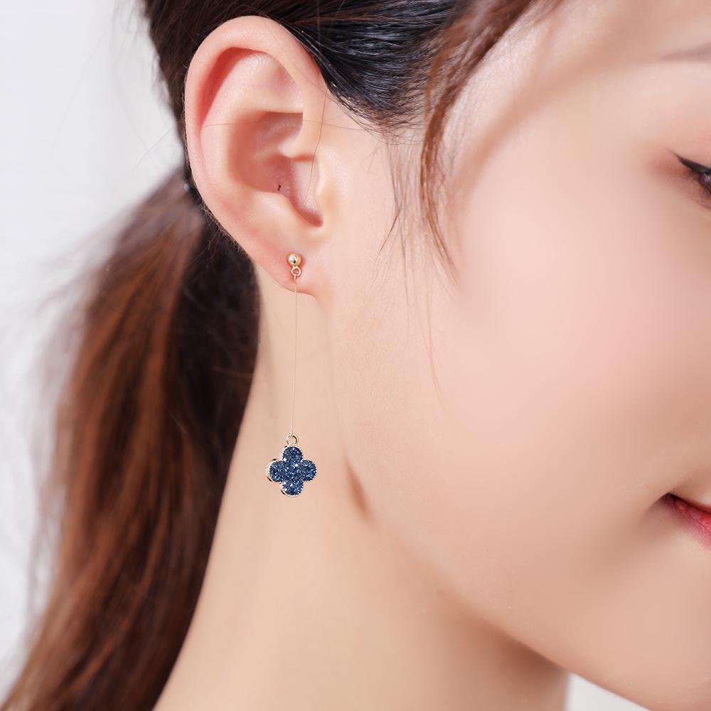 2020 new earrings, clover earrings, lucky grass earrings, blue earline, simple and advanced Earrings