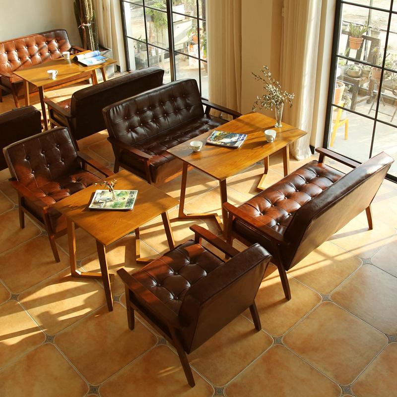Офисная кожаный диван десертный чайный магазин Западное кафе с двумя картами стола для переговоров и сочетанием клавиш для отдыха