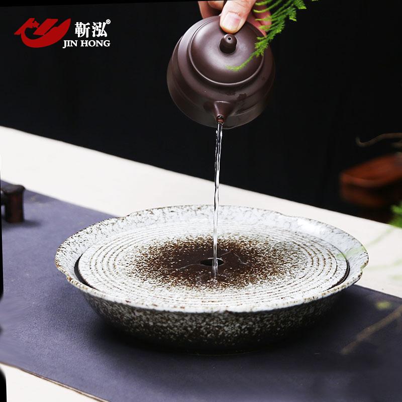靳泓 陶瓷茶盤圓形 大號茶台茶托 儲蓄水式日式茶道壺承小幹泡盤