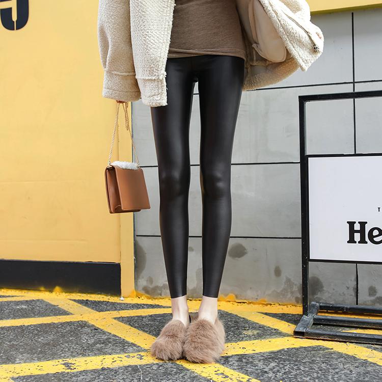 (用10元券)jhxc高腰加绒加厚哑光pu皮裤打底裤
