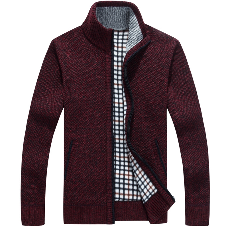 2018 winter solid color cardigan sweater coat young mens fattening sweater Plush thickened warm sweater