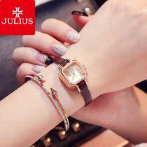 聚利时手表女士学生方形日韩风时尚潮流皮带款防水石英腕表julius