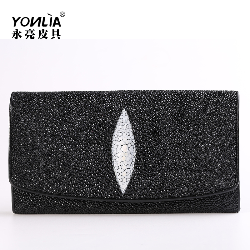 Yongliang leather goods Thailand pearl Fish Skin Wallet long three fold leather wallet devil fish wallet for men and women