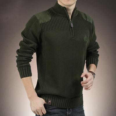 毛衣男春秋立領寬松針織衫半高領拉鏈純棉衛衣打底衫加絨加厚上衣