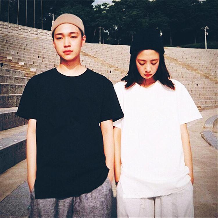 官方图 韩国夏季短袖ulzzang韩原宿BF风男女情侣装宽松大码T恤