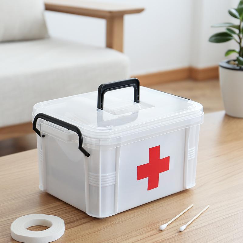 家用医药箱药收纳盒大号分层分格透明手提家庭医疗箱药品小急救箱