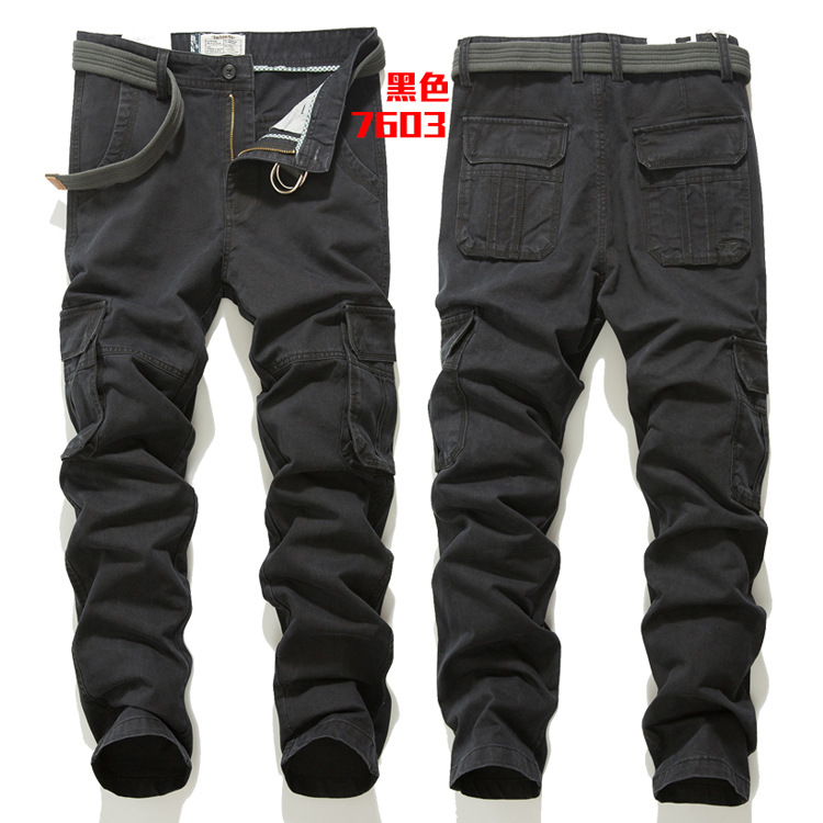 New autumn and winter mens mens Multi Pocket pants mens casual pants loose large outdoor overalls mens middle waist
