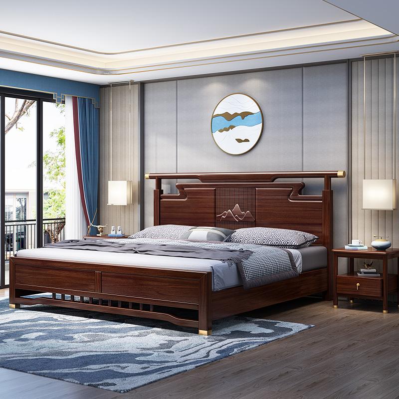 新中式实木1.5米1.8胡桃木婚床