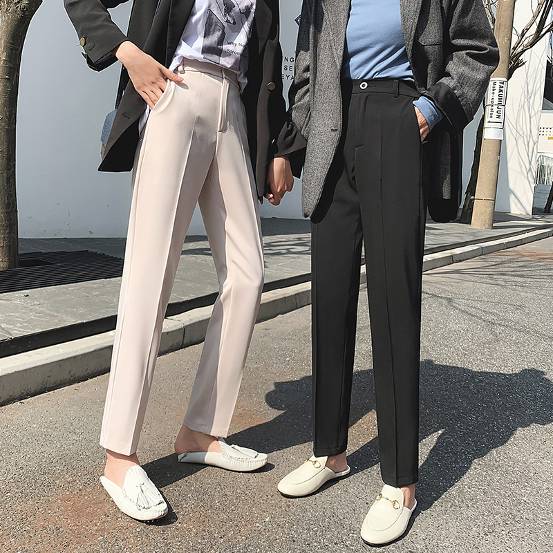 Suit pants girl 2020 autumn loose student nine point trousers black pants spring overalls casual straight women