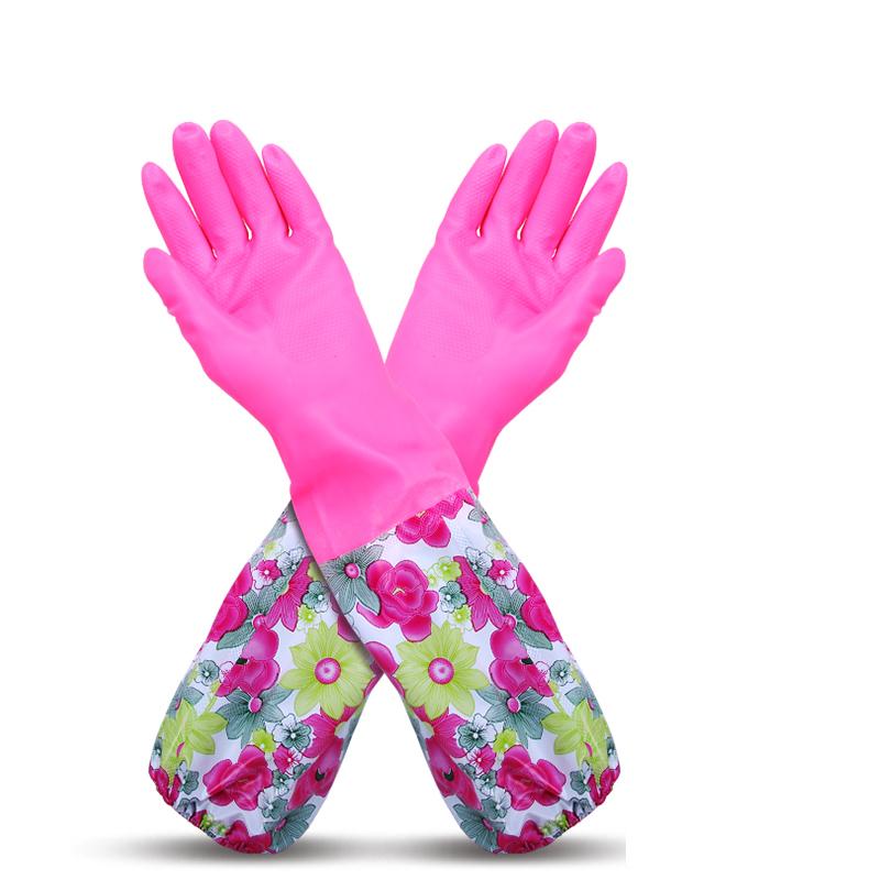 百家好世家務手套加絨加厚保暖乳膠手套加長束口洗碗洗衣手套3雙