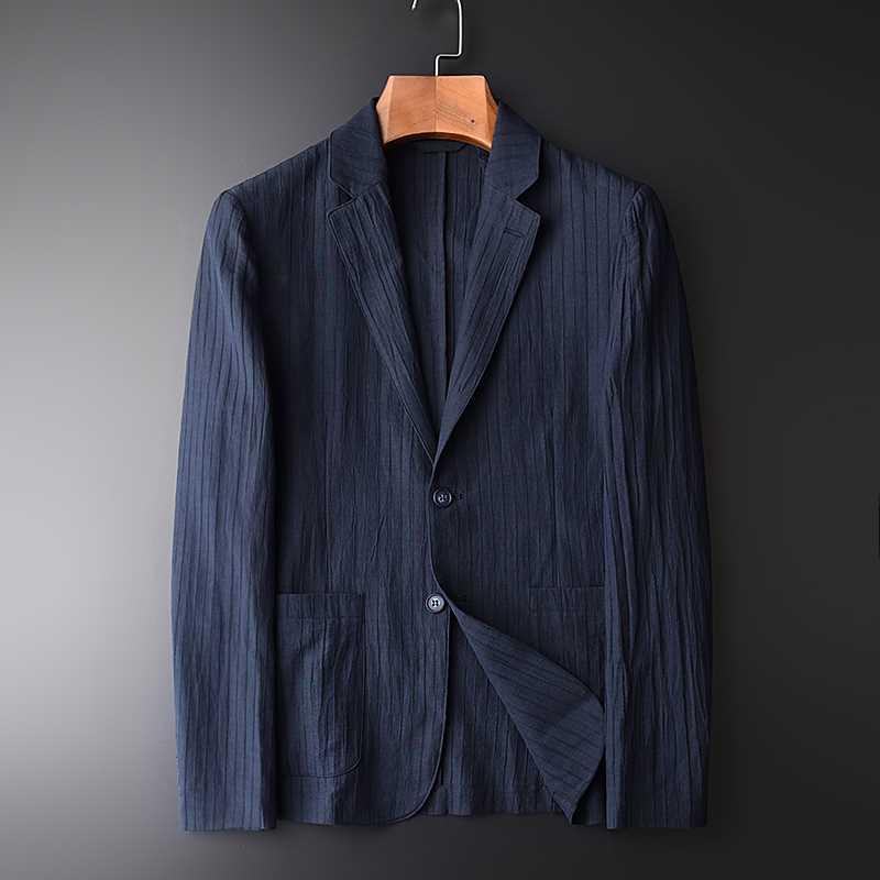 Ramie suit mens spring and autumn light slim Korean stripe handsome versatile cotton linen suit linen single Western coat