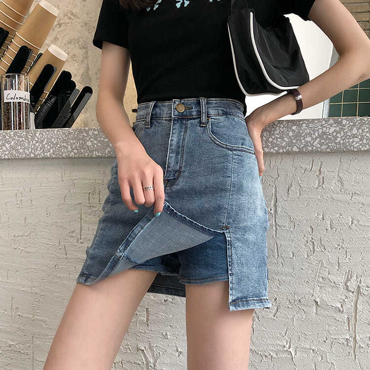 Summer tight 2020 new high waist A-line thin split skirt with buttocks covered denim skirt pants skirt womens skirt
