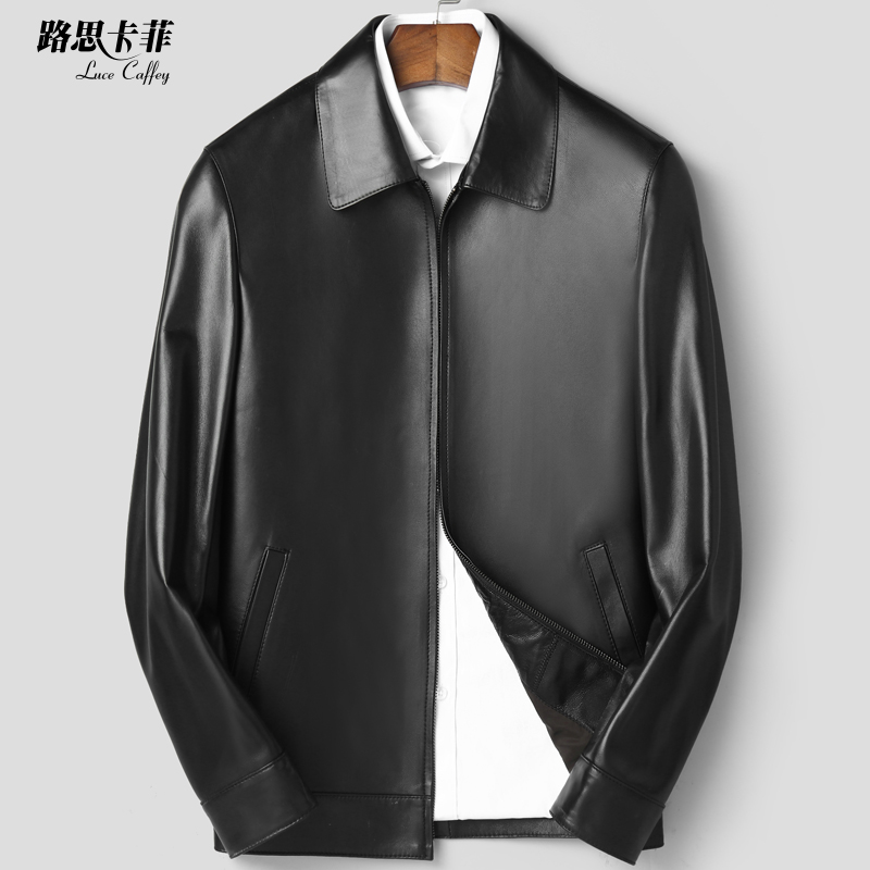 Haining leather jacket, man sheepskin jacket, lapel, short full leather men's single autumn and winter thin jacket