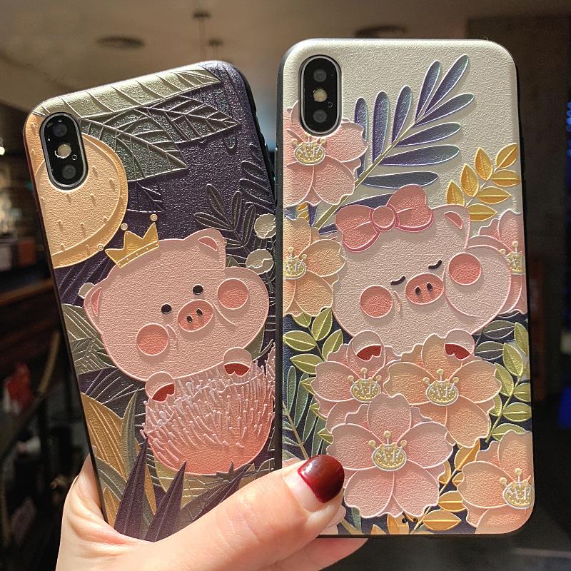 iPhone X携帯ケースの浮き彫り小肥豚7 plusシリカゲルのソフトケースはアップル8保護カバー6 s女性に適用されます。