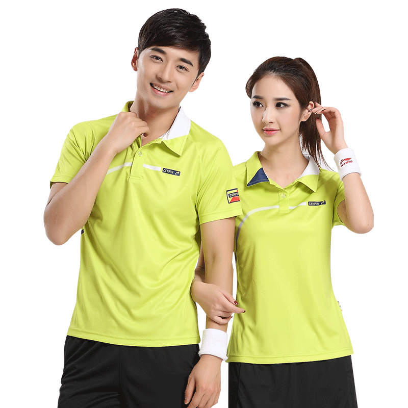 Summer men and women fluorescent green badminton wear sportswear tennis short-sleeved quick-drying T-shirt custom printing logo thin