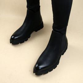尖頭歐美男士短靴皮靴子馬丁靴套腳增高潮靴發型師青年皮鞋機車靴圖片