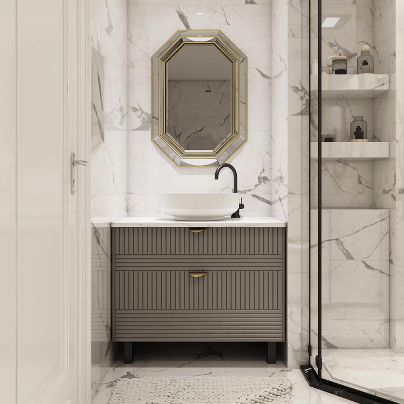 吉百卫新款灰色轻奢浴室柜组合现代简约卫生间洗手洗脸柜洗漱台盆(用10元券)