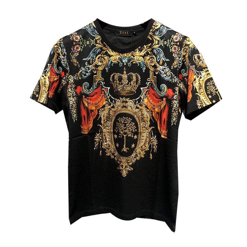 2020夏季个性潮流修身重工艺数码直喷印花重工徽章烫钻短袖t恤男
