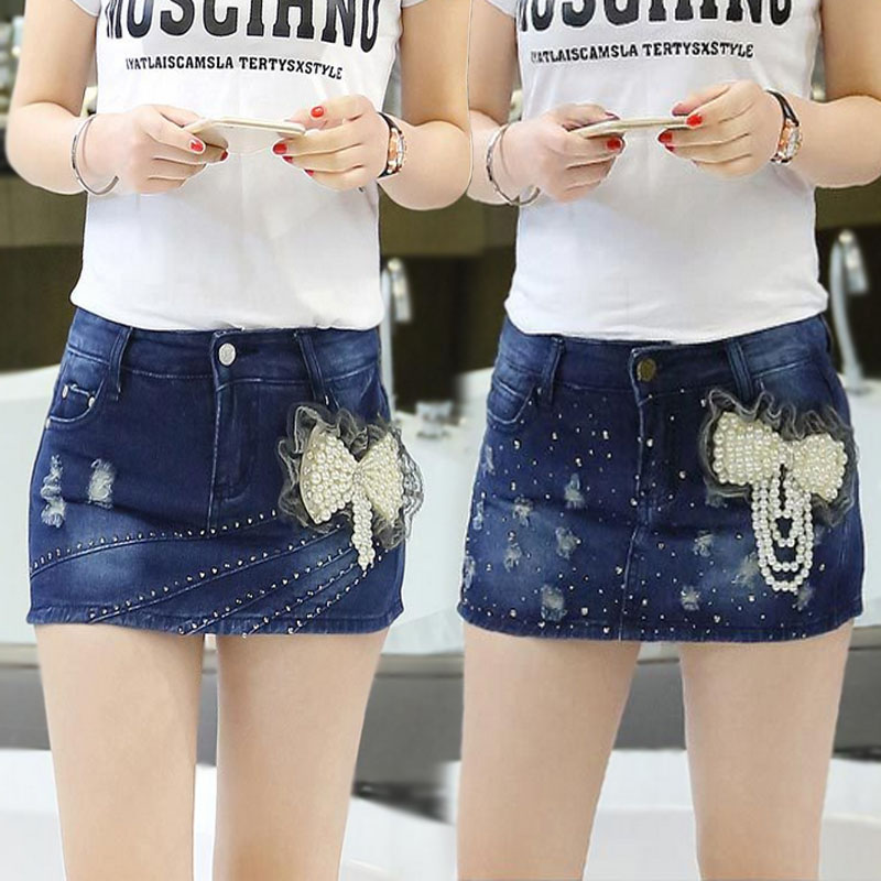 Spring new anti light jeans skirt pants womens Korean version slim show thin holes Jeans Shorts fake two summer