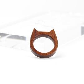 【流放地】原创木质戒指 猫耳 挂坠实木红木简约超萌情侣尾戒定制