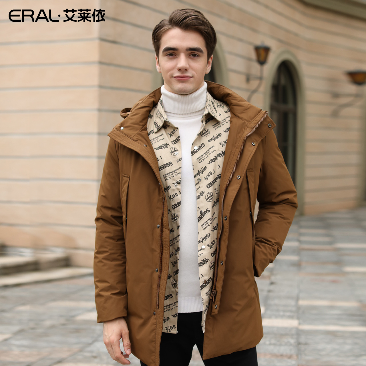6018410362019艾莱依秋冬新款商务风式男羽绒服短款冬装外套