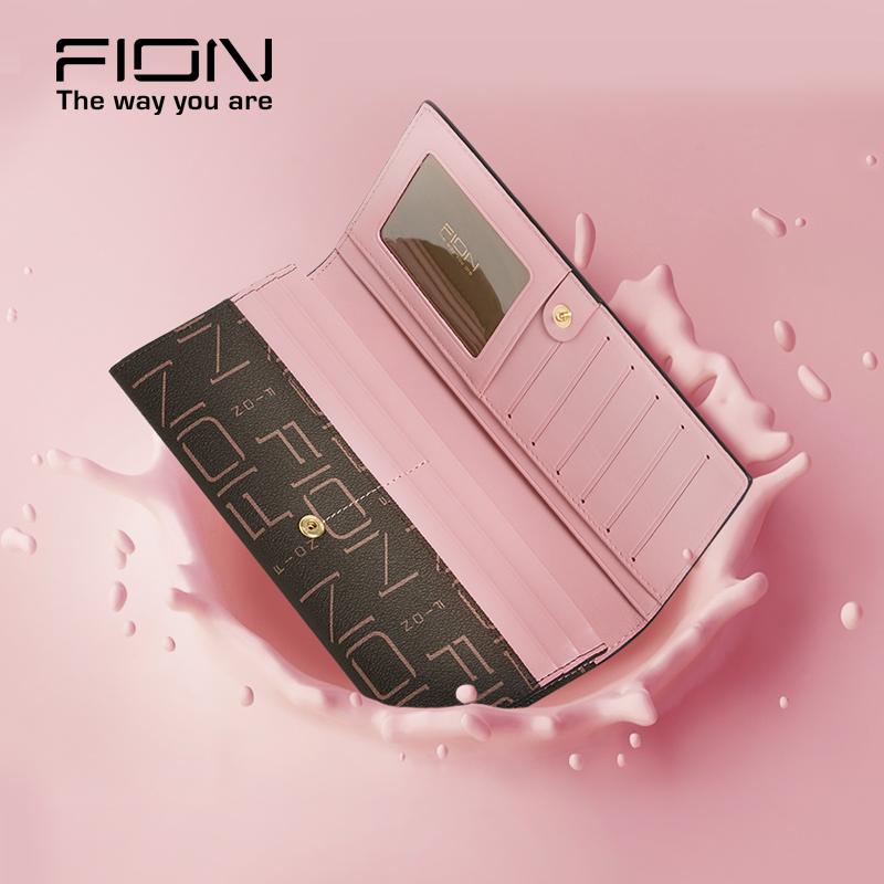 清货199元FION香港專櫃正品限量款時尚經典款WFIN109女款長款錢包