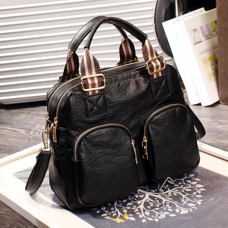 包包女2021新款女包手提包潮复古波士顿休闲包包撞色单肩包斜挎包