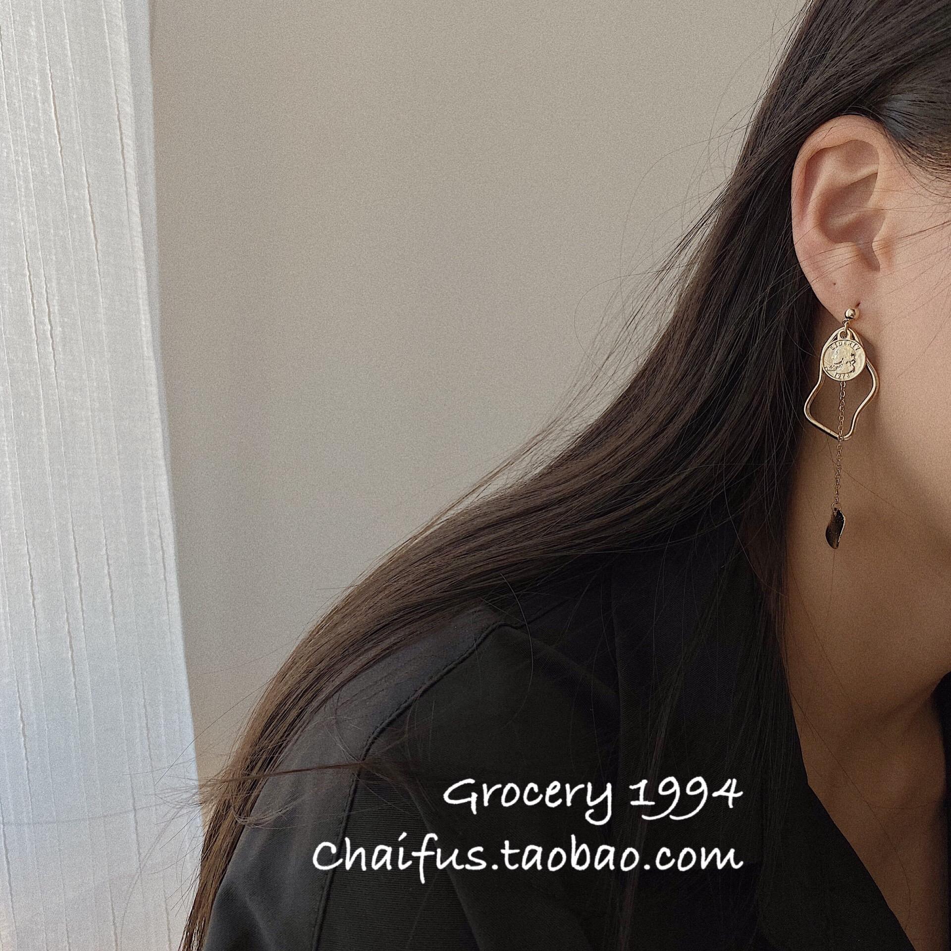 Chaifu studio /E35 INS风简约硬币设计感长款耳环吊坠气质显瘦小