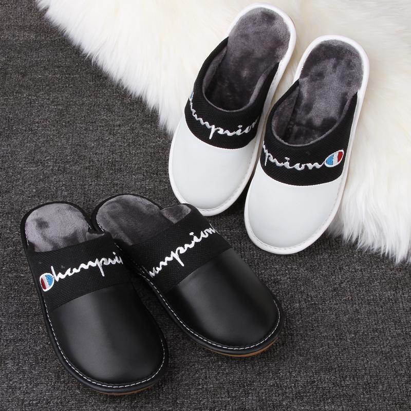 冬季羊皮ins潮女黑白简约男棉拖鞋
