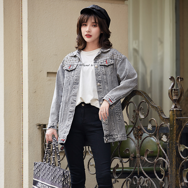 Leading Denim Jacket Womens spring and autumn clothing heavy industry fashion foreign style 2020 new design sense loose jacket