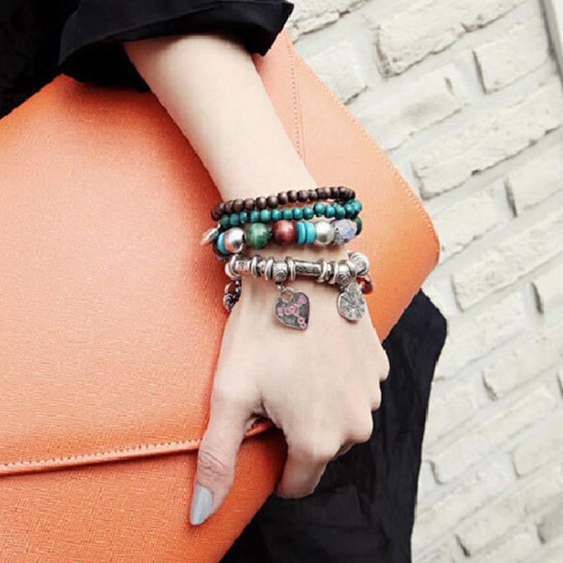 波西米亚民族风百搭可爱手环韩国韩版复古串珠手镯手链女套装饰品