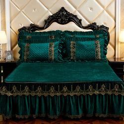可拆卸夹棉床裙式水晶绒加厚法兰绒席梦思床罩单件1.8m米防滑床套