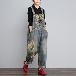 QYCQ2020春季新款牛仔背带裤女宽松长裤怀旧复古印花显瘦连体裤秋