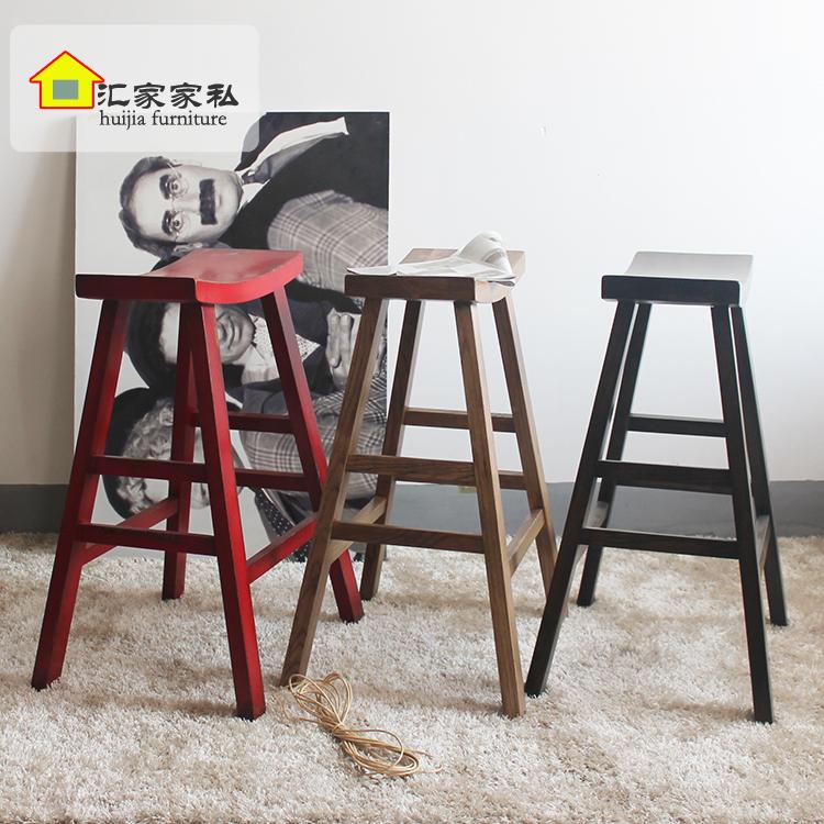 现代中式仿古家具做旧实木凳子吧台凳酒吧休闲凳子装饰高脚凳