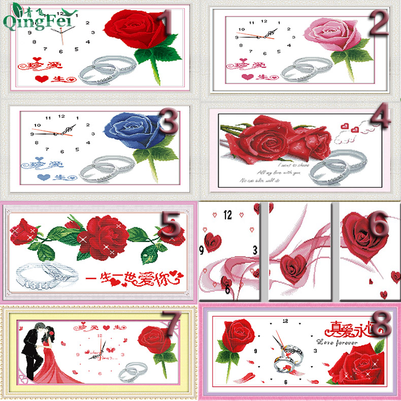 青飞5D真爱永恒十字绣玫瑰花一生相随玫瑰情人红玫瑰之恋有钻石画