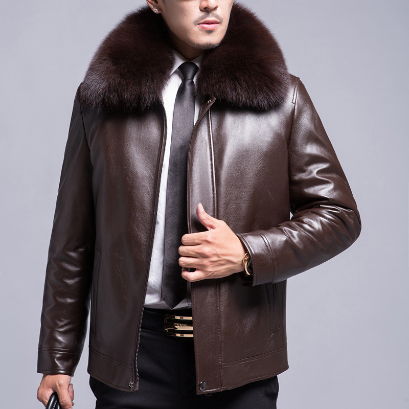 Winter fur jacket male real leather jacket male fox fur collar leather jacket male pini overcomes male thickened mink inner liner