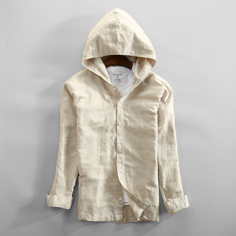 Chinese Style Mens clothing Hooded Shirt Mens long sleeve thin linen coat with hat sweater ancient shirt