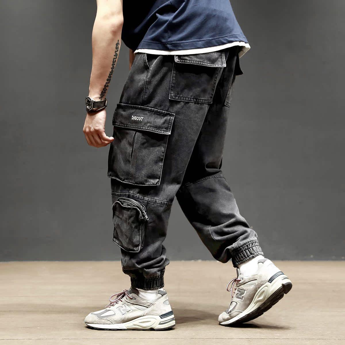 (用1元券)马切达秋季欧美工装裤做旧水洗宽松牛仔裤潮男多口袋休闲裤束脚裤