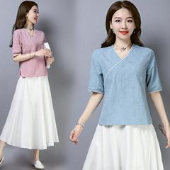 夏新款女装复古文艺中式斜襟棉麻衬衫短袖衬衣宽松休闲茶服上衣