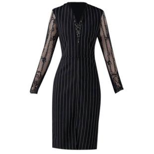 2020秋季新款職業條紋蕾絲拼接長袖連衣裙修身氣質V領釘珠開叉裙